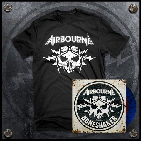 √Boneshaker (Ltd. Bundle: Red & Blue Splatter LP + T-Shirt) von Airbourne - LP Bundle jetzt im uDiscover Shop